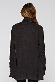 Lovestitch Faux Leather-Trim Cardigan - Side cropped