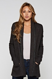 Lovestitch Faux Leather-Trim Cardigan - Front cropped
