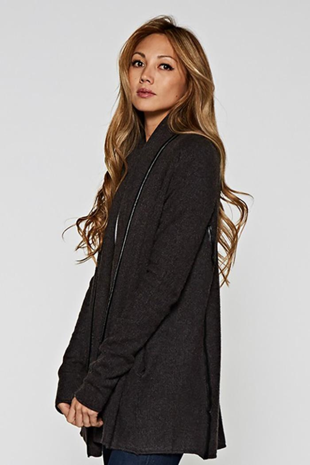 Lovestitch Faux Leather-Trim Cardigan - Front Full Image