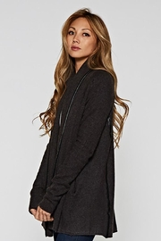Lovestitch Faux Leather-Trim Cardigan - Front full body