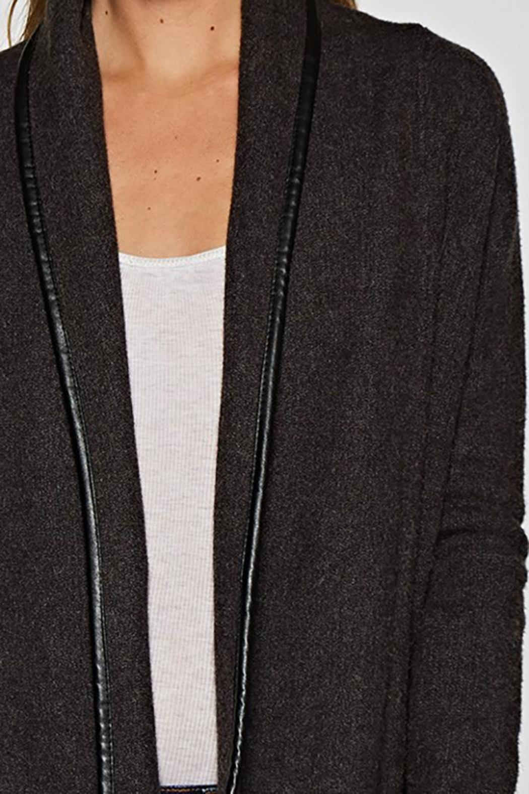 Lovestitch Faux Leather-Trim Cardigan - Back Cropped Image