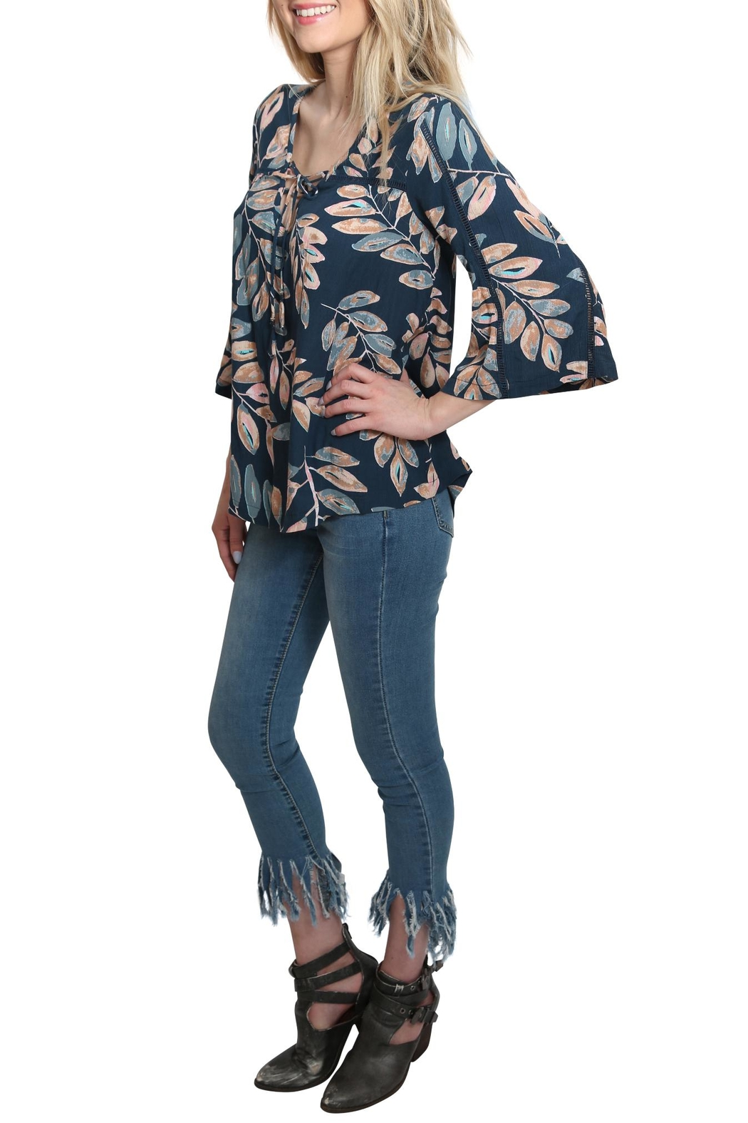 Lovestitch Floral Bell Sleeve Top - Side Cropped Image
