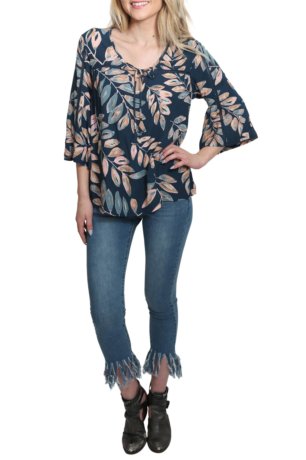 Lovestitch Floral Bell Sleeve Top - Main Image