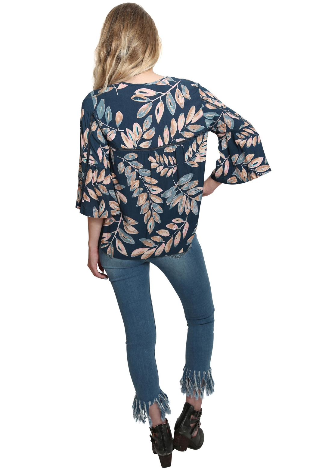 Lovestitch Floral Bell Sleeve Top - Back Cropped Image