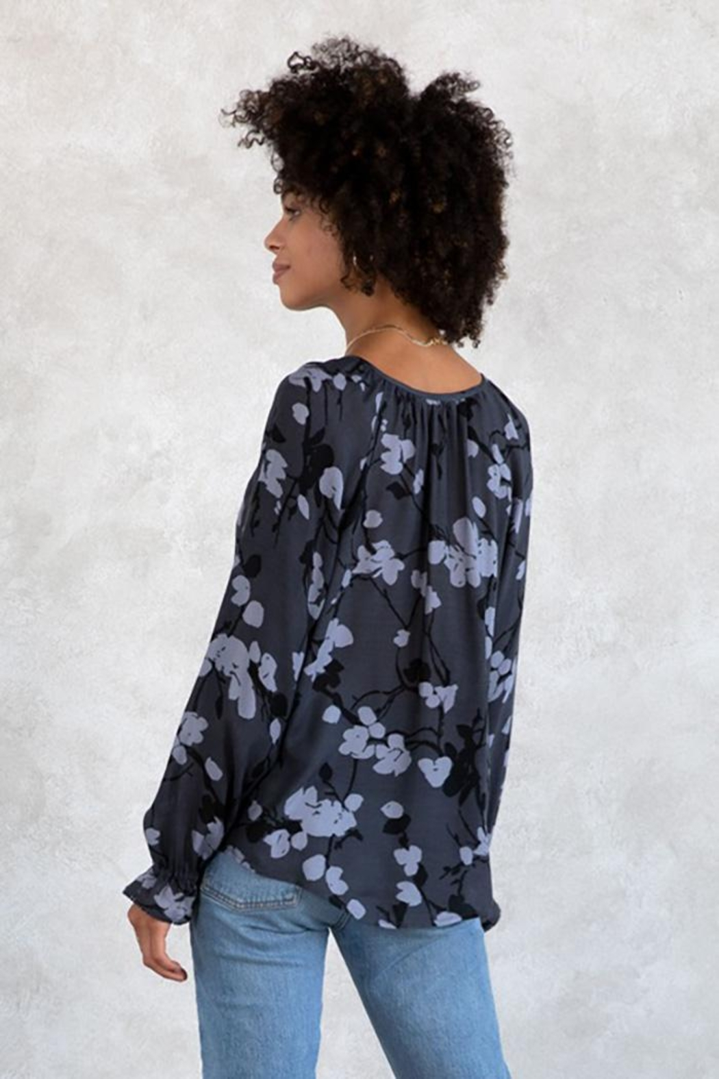 Lovestitch Floral Button Front Long Sleeve Blouse - Side Cropped Image