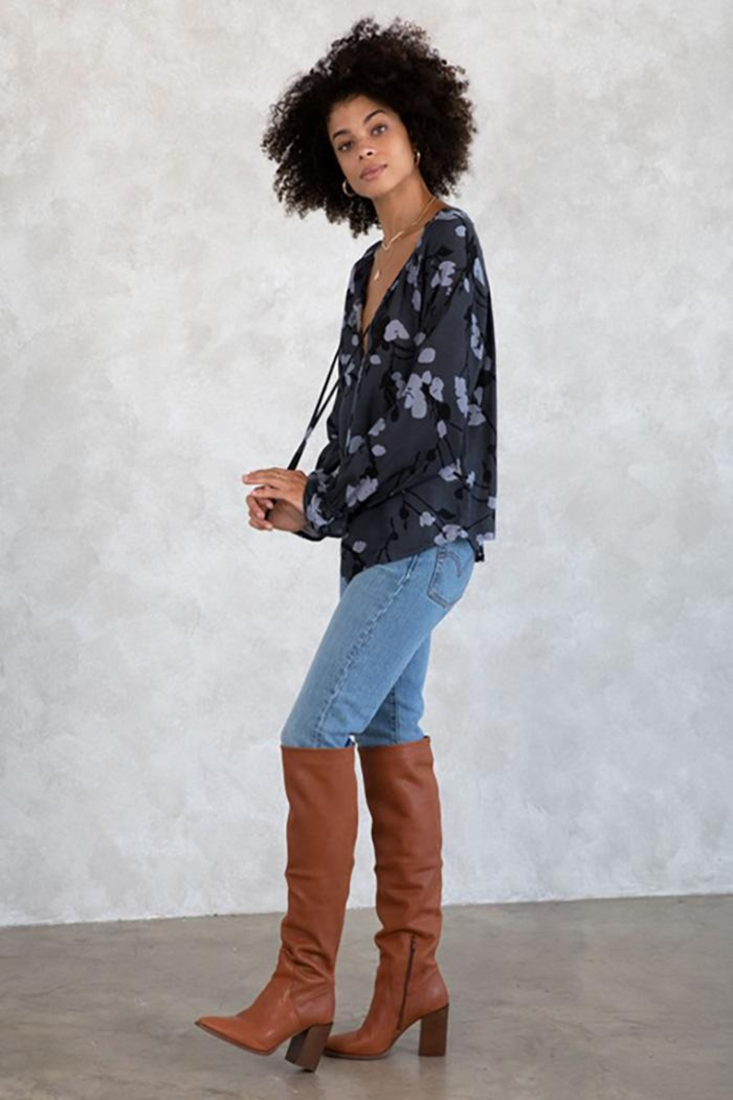 Lovestitch Floral Button Front Long Sleeve Blouse - Back Cropped Image
