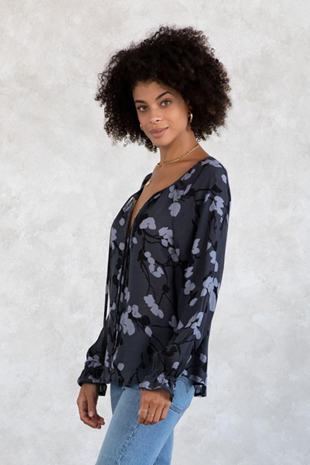 Lovestitch Floral Button Front Long Sleeve Blouse - Front Full Image