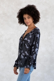 Lovestitch Floral Button Front Long Sleeve Blouse - Front full body