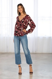 Lovestitch Floral Button Front Long Sleeve Blouse - Other