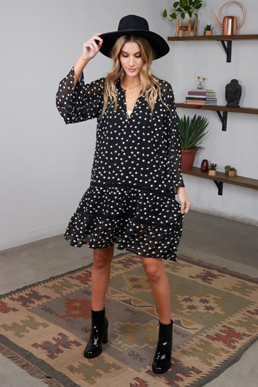 Lovestitch Floral Embroidered Bell Sleeve Mini Dress - Front Full Image
