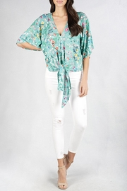 Lovestitch Floral Kimono-Sleeve Top - Front cropped