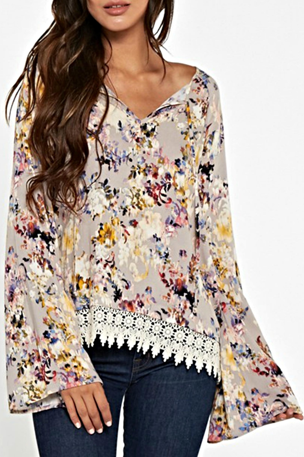 Lovestitch Floral Lace Blouse - Side Cropped Image