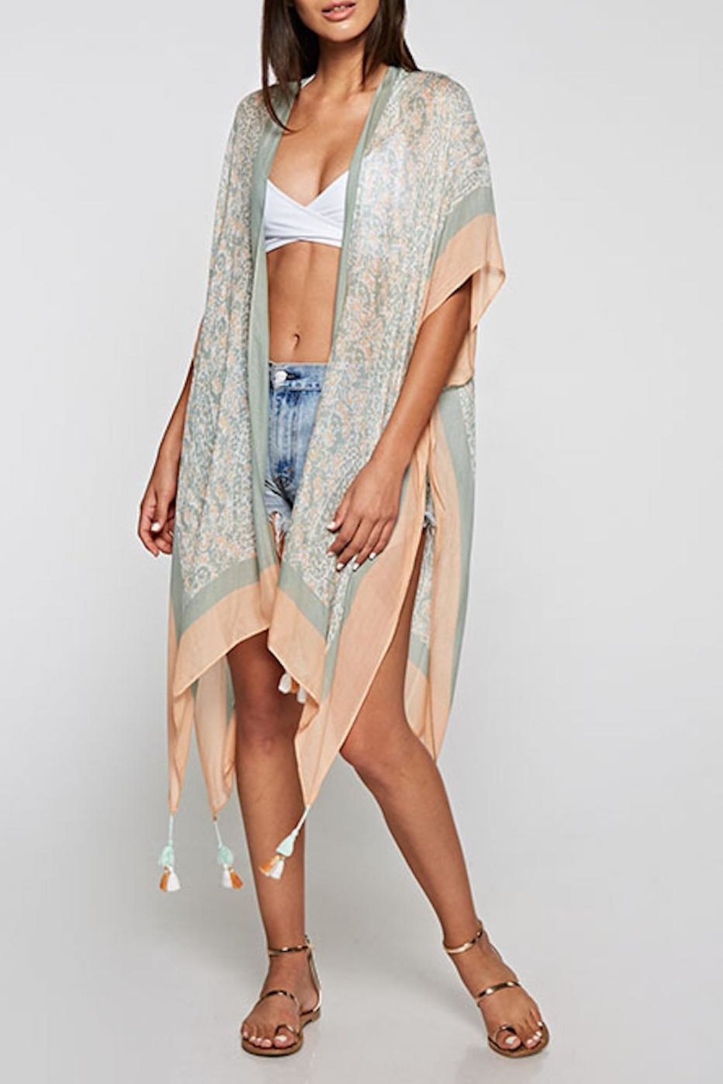 Lovestitch Floral Paisley Kimono - Front Cropped Image