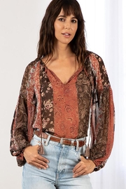 Lovestitch Floral Patchwork Sheer Long Sleeve Boho Top - Product Mini Image