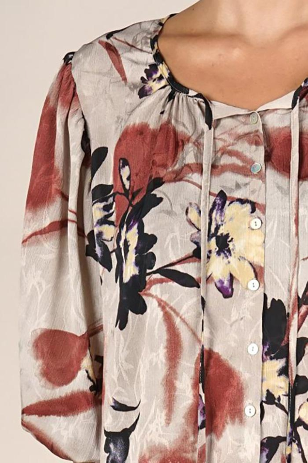 Lovestitch Floral Print Blouse - Side Cropped Image