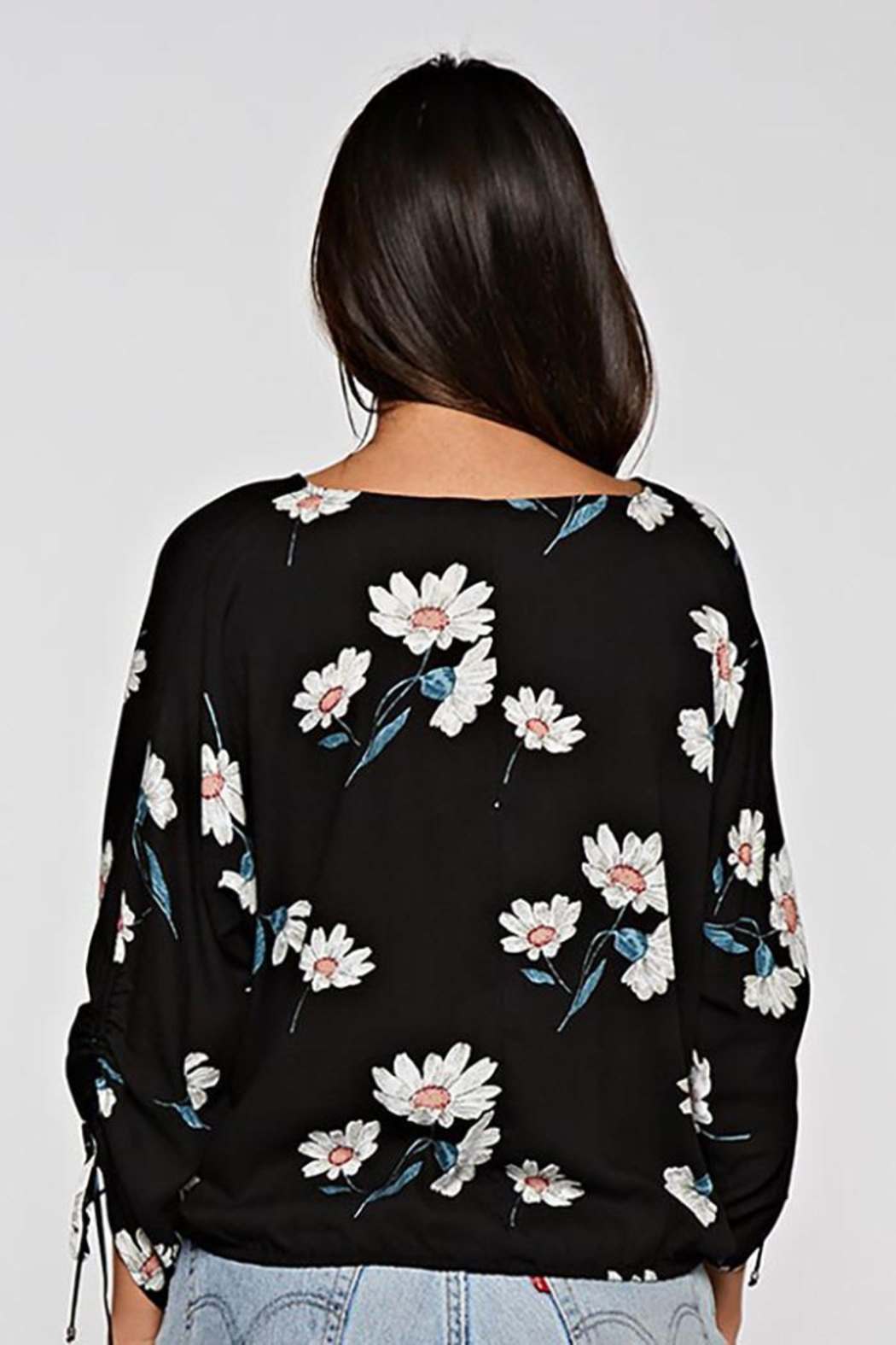Lovestitch Floral Print Button Front Top - Side Cropped Image