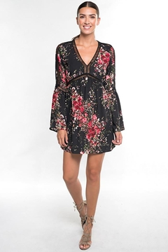 Lovestitch Floral Print Long Bell Sleeve Mini Dress - Product List Image