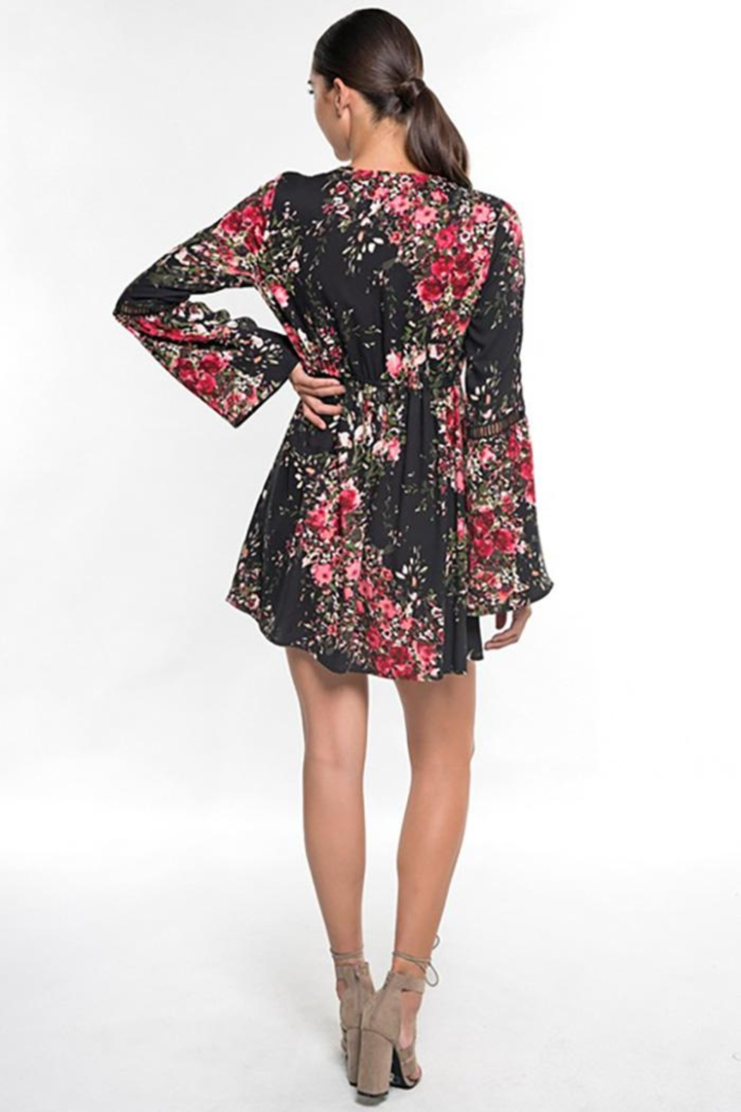Lovestitch Floral Print Long Bell Sleeve Mini Dress - Side Cropped Image