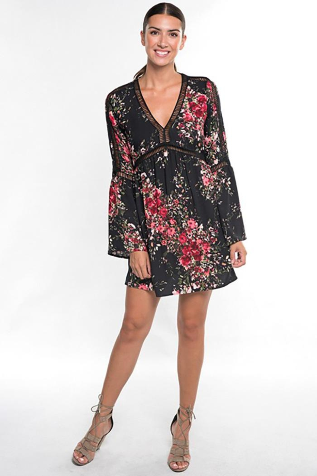Lovestitch Floral Print Long Bell Sleeve Mini Dress - Front Full Image