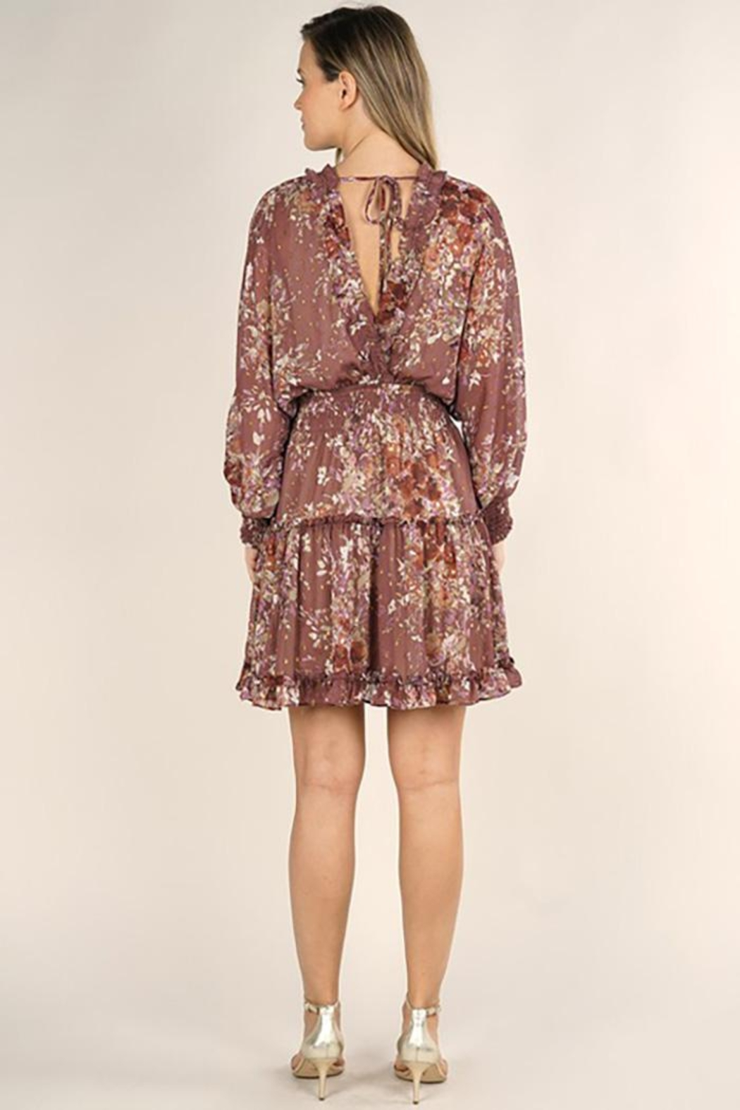 Lovestitch Floral Print Long Sleeve Tiered Mini Dress - Side Cropped Image