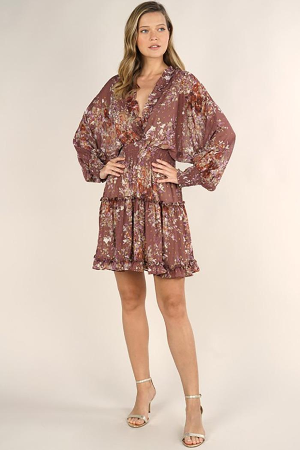 Lovestitch Floral Print Long Sleeve Tiered Mini Dress - Front Full Image