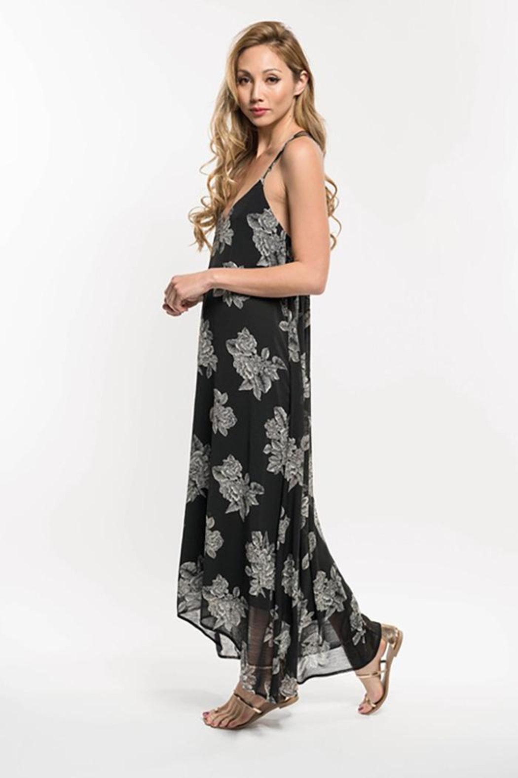 Lovestitch Floral Print Strappy Knot Back Maxi Dress - Front Full Image