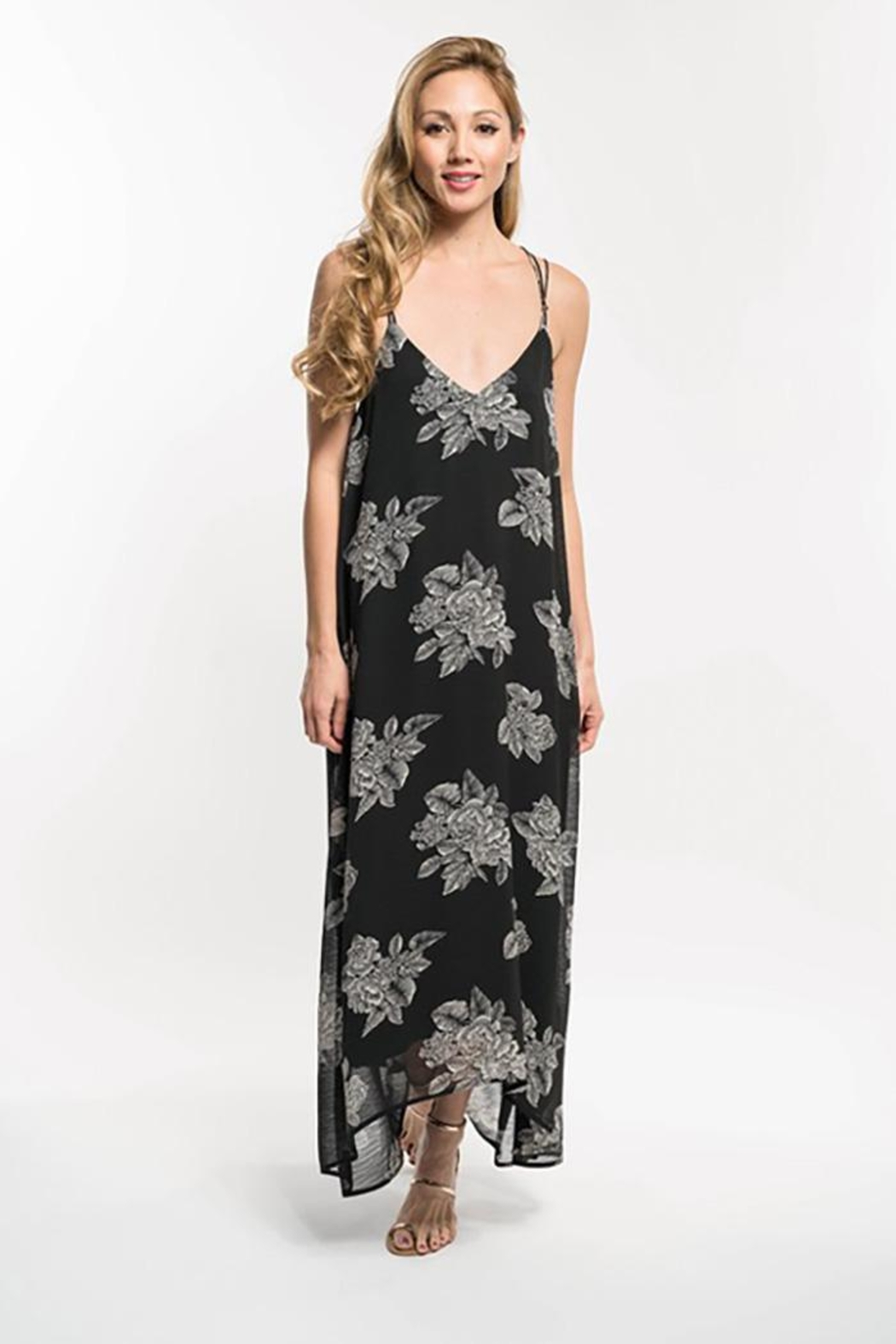 Lovestitch Floral Print Strappy Knot Back Maxi Dress - Main Image