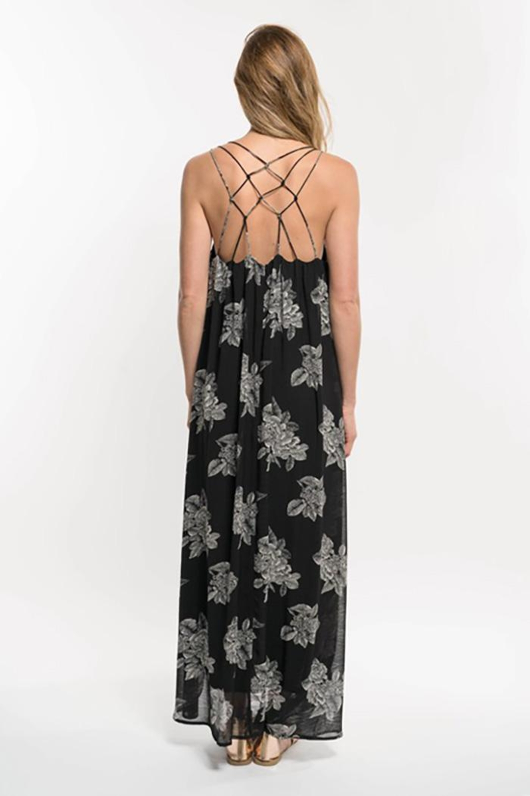 Lovestitch Floral Print Strappy Knot Back Maxi Dress - Side Cropped Image