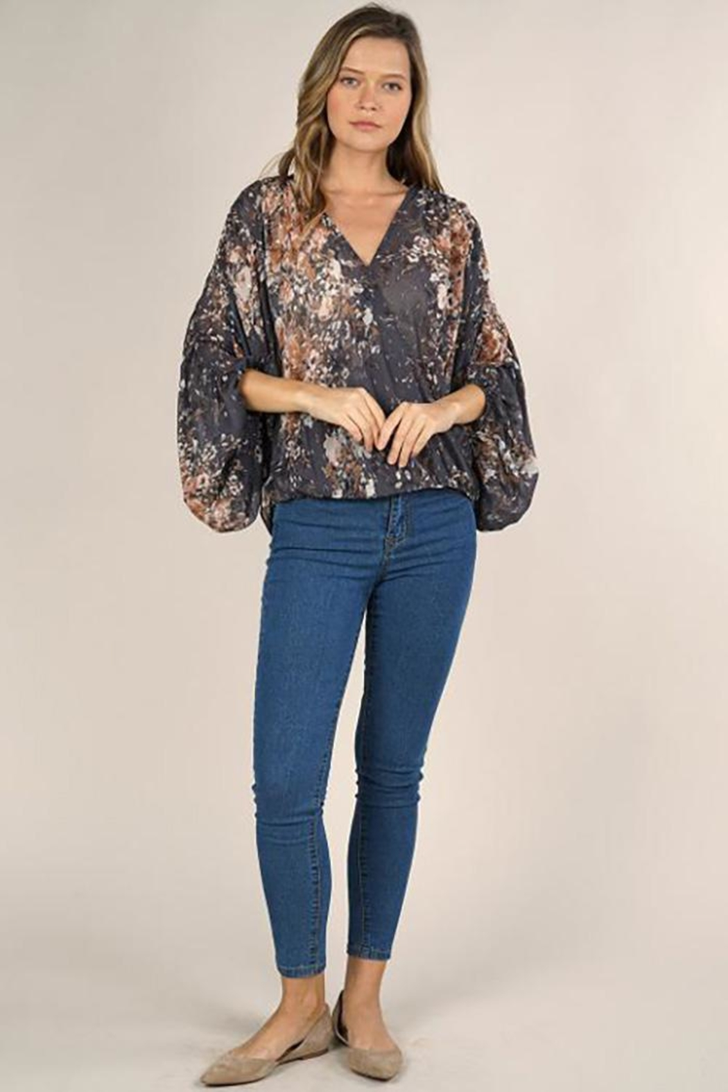 Lovestitch Floral Print Surplice Top - Back Cropped Image