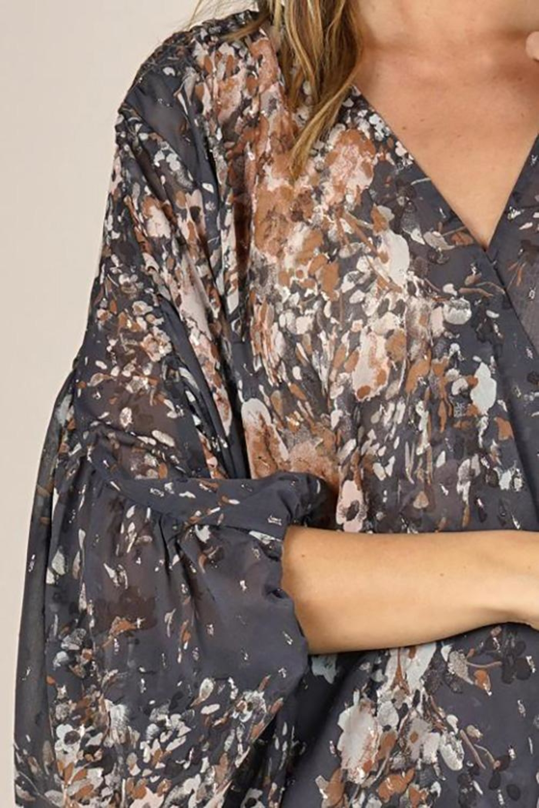 Lovestitch Floral Print Surplice Top - Front Full Image