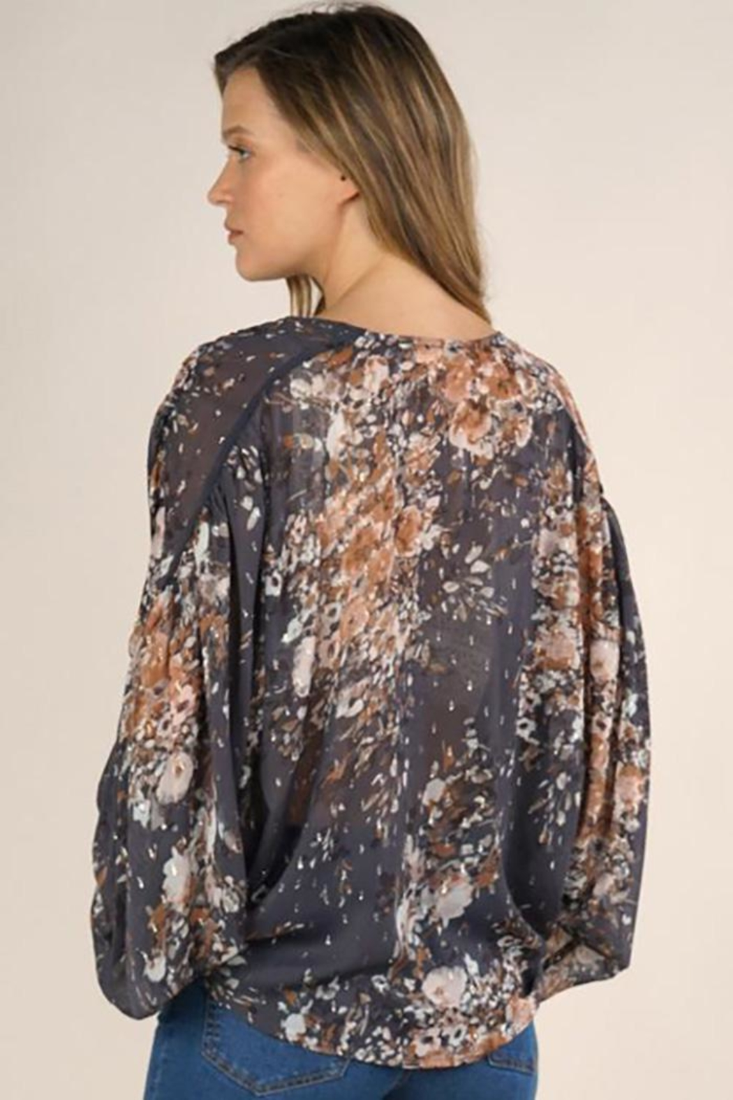 Lovestitch Floral Print Surplice Top - Side Cropped Image