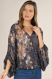 Lovestitch Floral Print Surplice Top - Front cropped