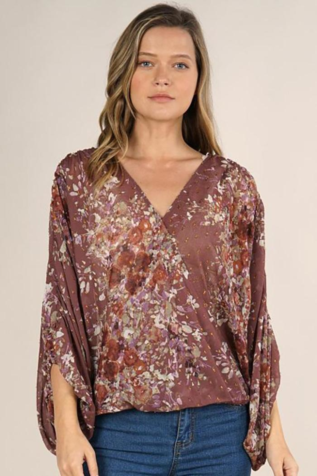 Lovestitch Floral Print Surplice Top - Front Cropped Image