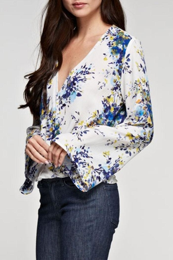 Lovestitch Floral Printed Surplice Top - Main Image
