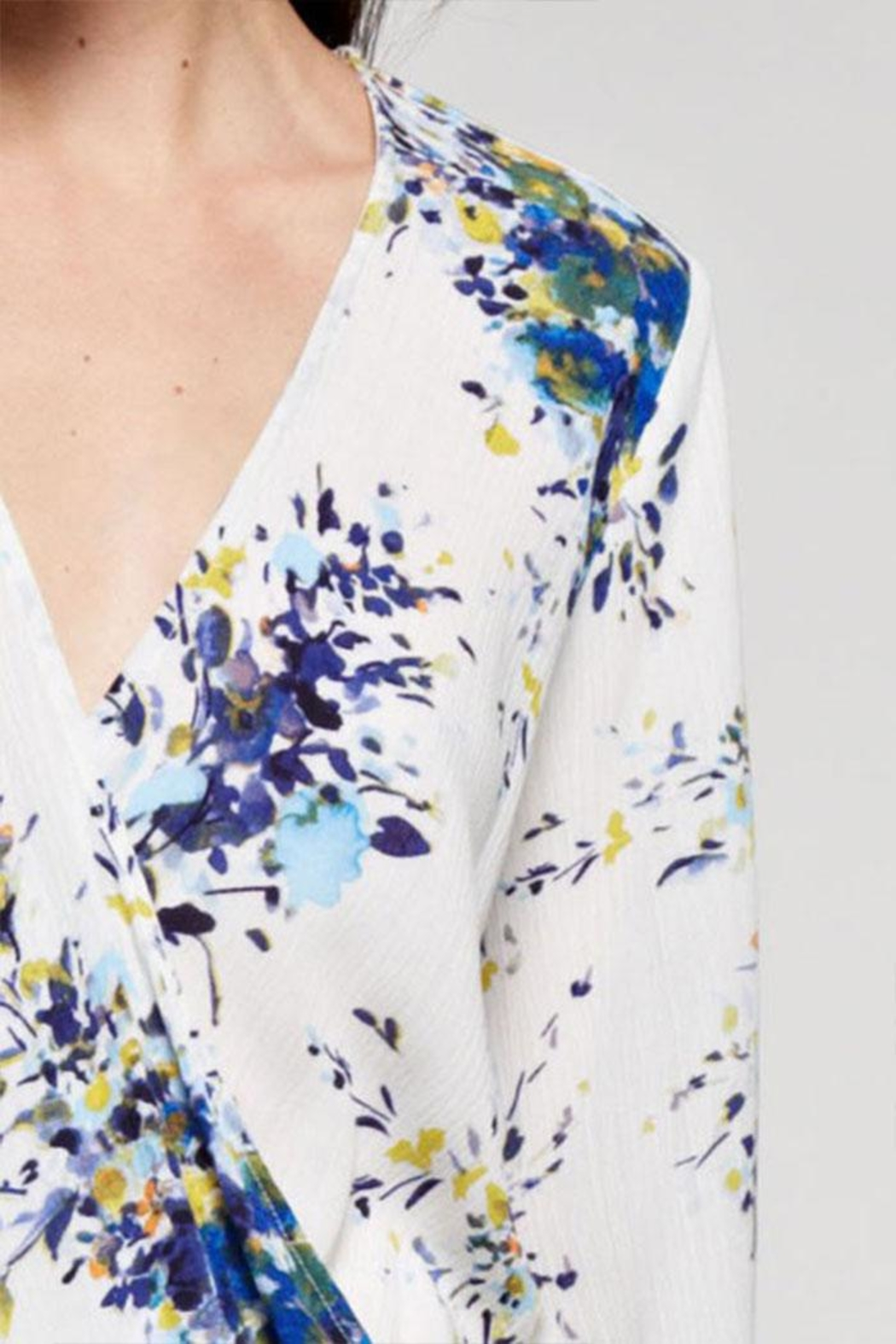 Lovestitch Floral Printed Surplice Top - Side Cropped Image