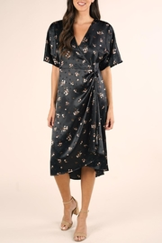 Lovestitch Floral Satin Wrap-Dress - Front full body