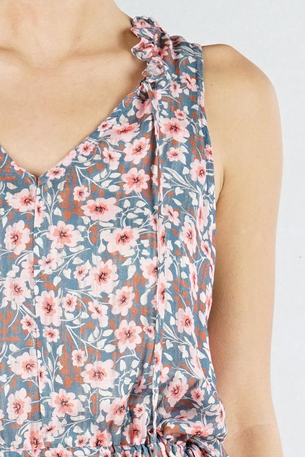 Lovestitch Floral Sleeveless Midi - Back Cropped Image