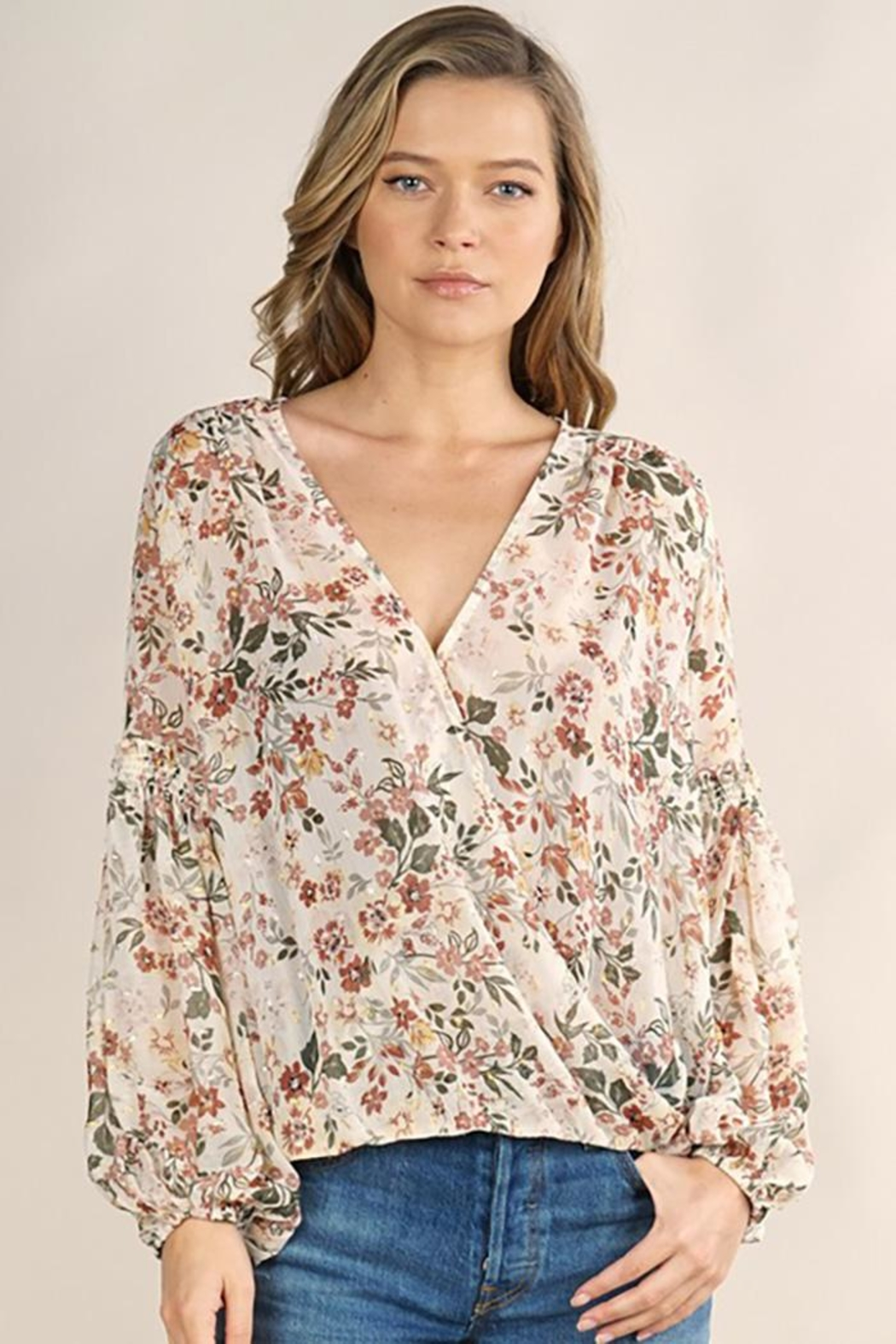 Lovestitch Floral Surplice Long Sleeve Top - Main Image