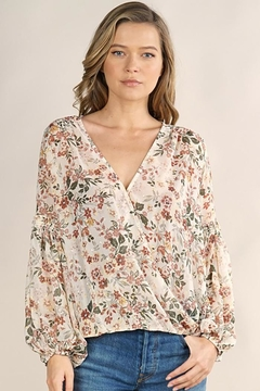 Lovestitch Floral Surplice Long Sleeve Top - Product List Image