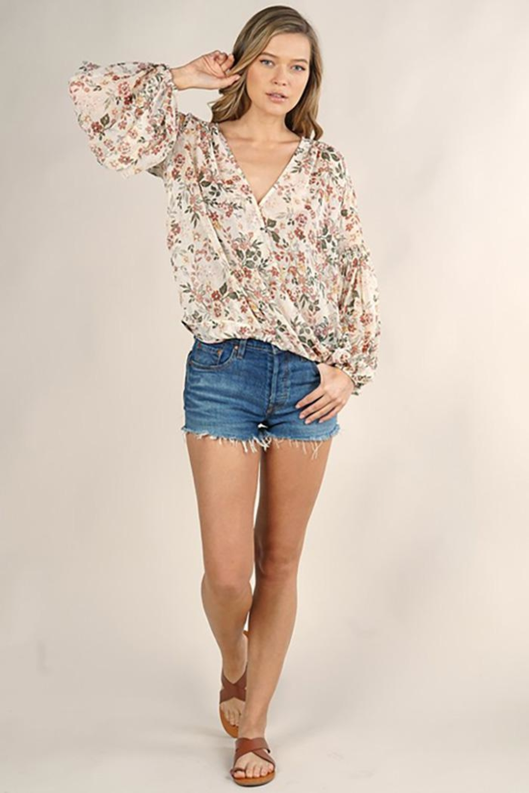 Lovestitch Floral Surplice Long Sleeve Top - Front Full Image