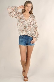 Lovestitch Floral Surplice Long Sleeve Top - Front full body