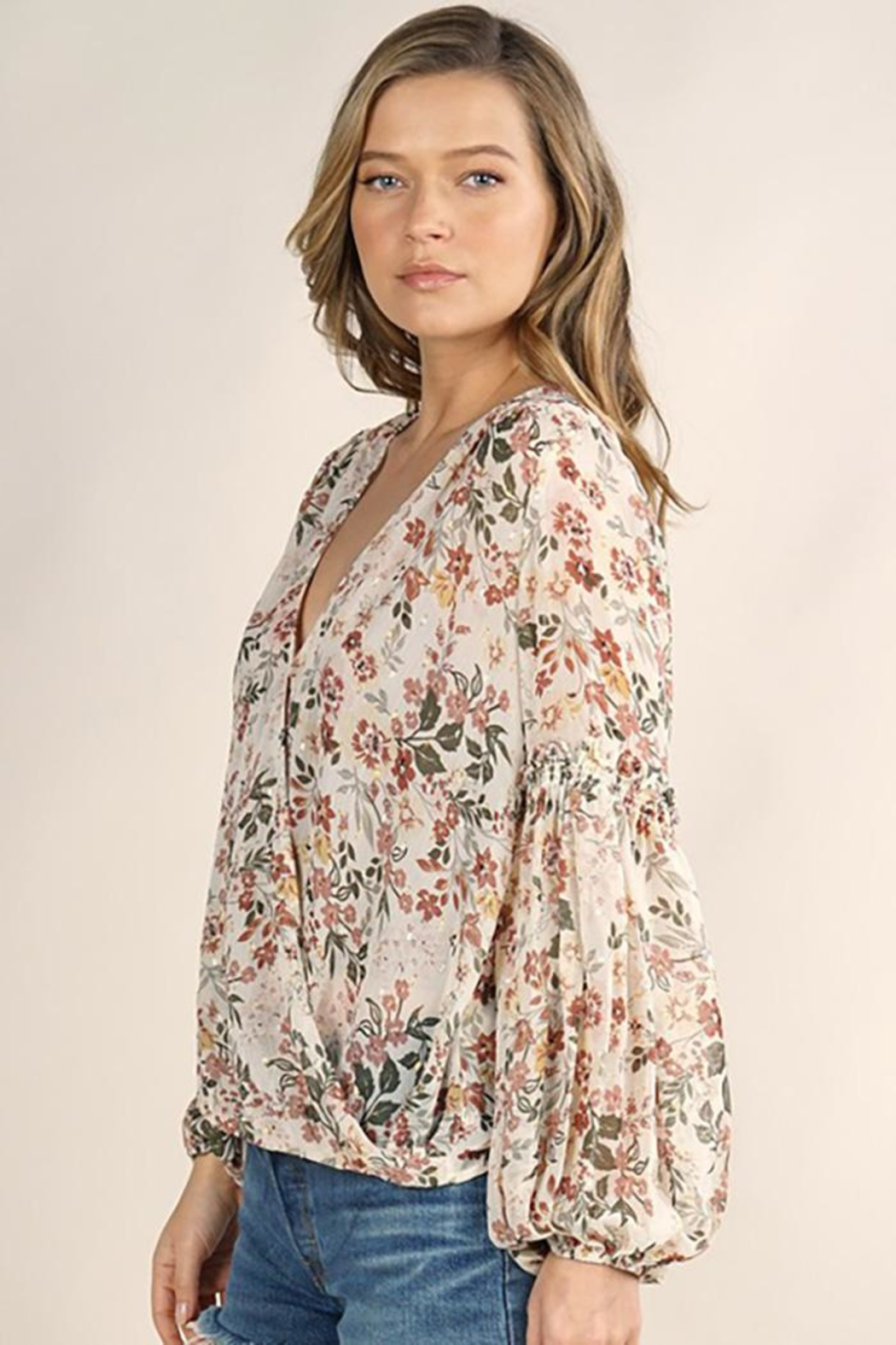 Lovestitch Floral Surplice Long Sleeve Top - Back Cropped Image