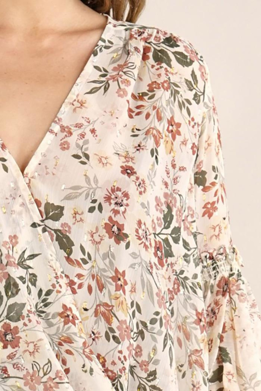 Lovestitch Floral Surplice Long Sleeve Top - Side Cropped Image