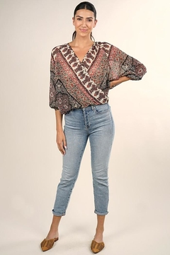 Shoptiques Product: Floral Surplice Reglan Sleeves Top