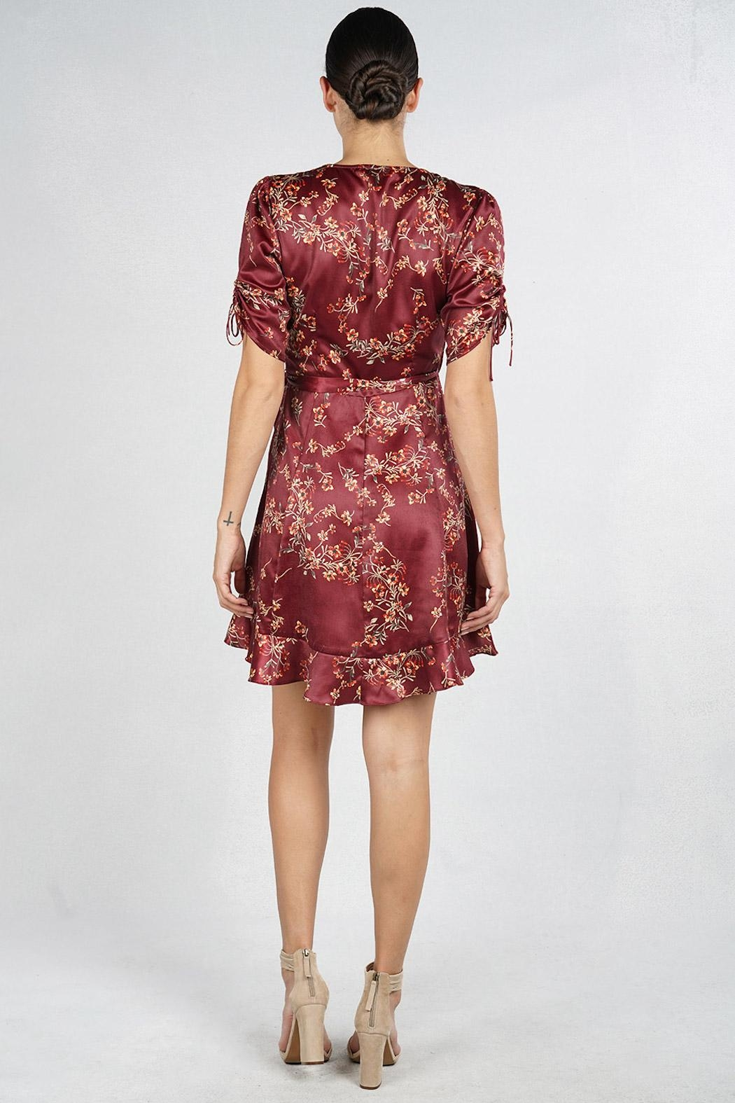 Lovestitch Floral Wrap Dress - Back Cropped Image