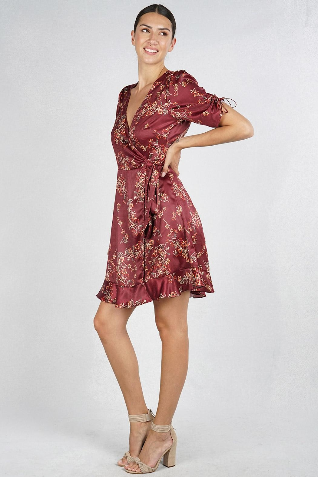Lovestitch Floral Wrap Dress - Side Cropped Image