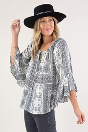 Lovestitch Flutter Sleeve Paisley Peasant Top - Product Mini Image