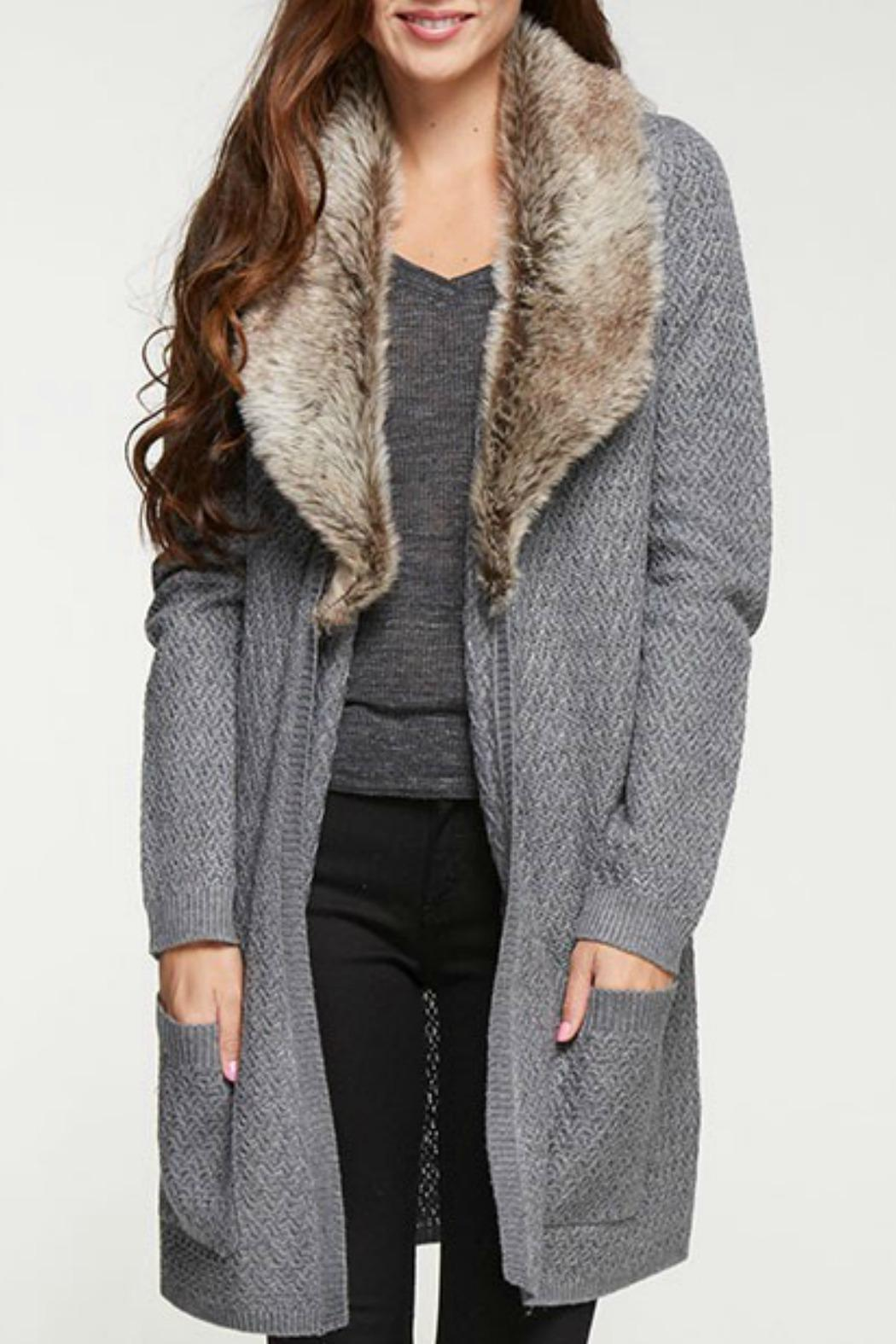 Lovestitch Fur Trim Cardigan - Front Cropped Image