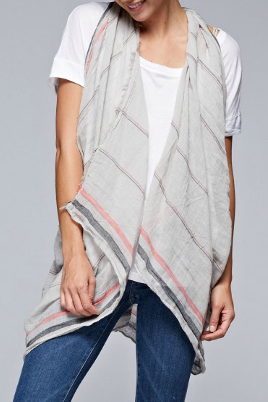 Lovestitch Gauzy Striped Scarf - Front Cropped Image