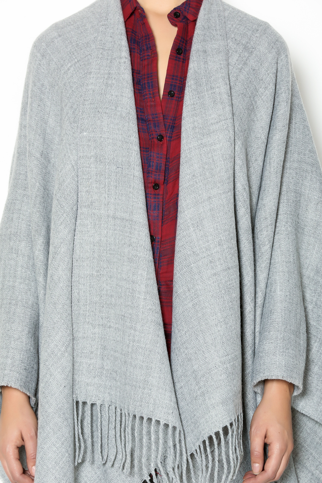 Lovestitch Grey Open Poncho - Front Full Image